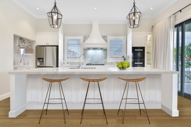 Image of Hamptons-inspired kitchen in knockdown rebuild